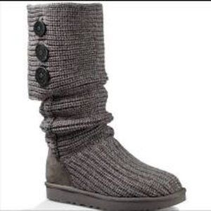 Ugg Classic Cardy Tall Knit Button Boot Gray 6